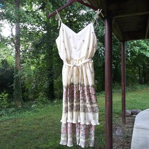 Vintage 70s Accordion Pleated Sundress Belted M